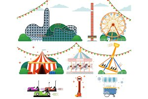 Amusement park with attractions set
