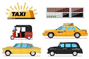 World taxi car and vehicle isolated set