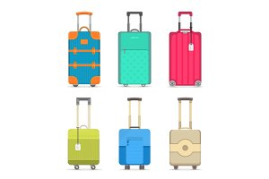 Travel colorful suitcase isolated set