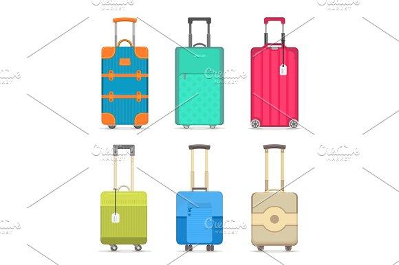 Travel Colorful Suitcase Isolated Set