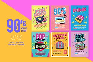 6 Nineties Music Flyers Bundle