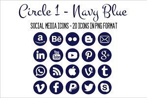 Social Media Icons - Navy