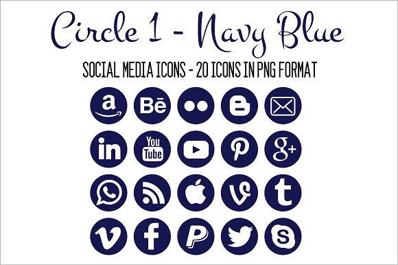 Social Media Icons Navy