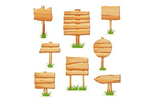 Wooden signpost in grass isolated vector set