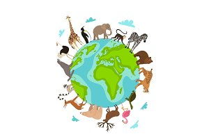 Wild animals around globe banner