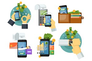 Mobile payment set in flat design