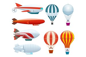Hot air balloon isolated vector set