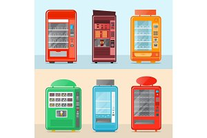 Automatic vending machine set in flat design