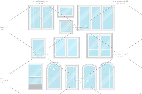 Modern Shiny Windows Set Isolated Vector