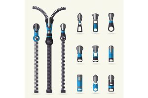 Zipper and fastener vector set