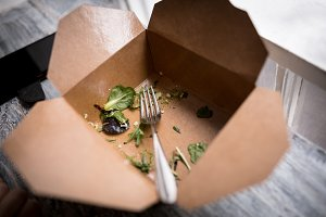 Leftover salad in meal box
