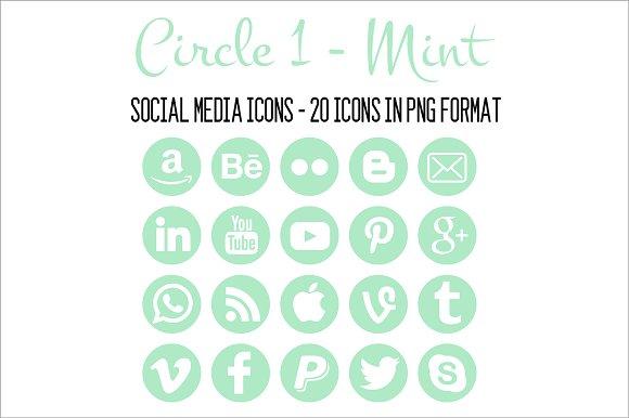 Social Media Icons Mint