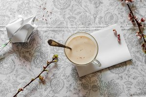 Hot cappuccino for a cheerful spring morning