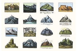 Mountain Labels or Badges for Travel