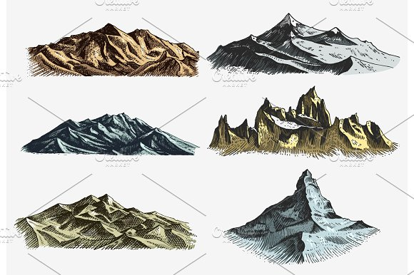 Set Of Vintage Old Engraving With Mountains Peaks In Hand Drawh Sketch Style Different Versions And Colors