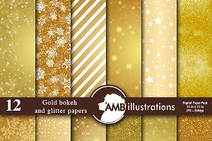 Gold Pattern Digitial Papers AMB-589