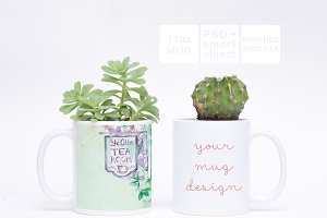 Double 11oz Mug Greenery Mockup PSD