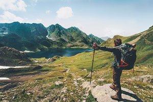 Hiker Man enjoying lake