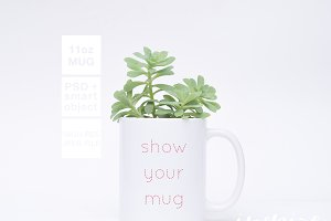 11oz Ceramic Mug Greenery Mockup PSD