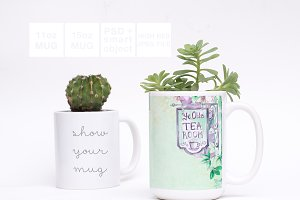 11oz&15oz Mugs Greenery Mockup PSD