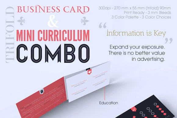 Trifold Business Card CV Combo Business Card Templates - Tri fold business card template