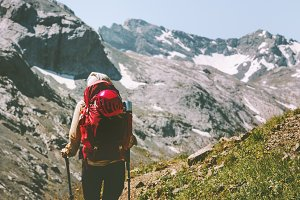 woman traveling at rocky mountains