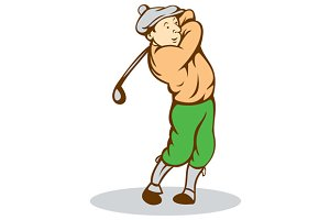 Golfer Swinging Club Cartoon