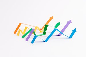 Graphics arrows isolated over white background.