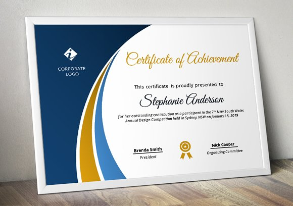 Modern Certificate Template (pptx) in Stationery Templates