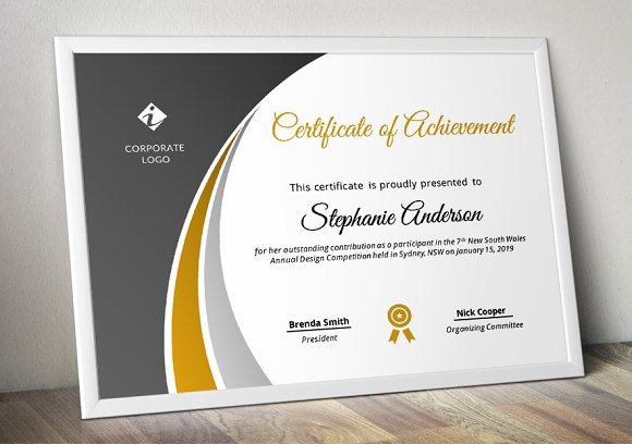 Modern Certificate Template (pptx) in Stationery Templates - product preview 2