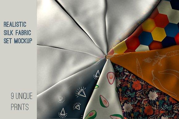 Download Realistic Silk Fabric. Mockup.