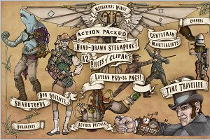 Hand-drawn SteamPunk ClipArt set