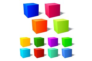 Set of brignt 3d cubes