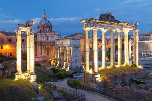 Ancient ruins of Roman Forum at night, Rome, Italy
