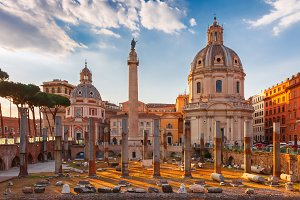 Ancient Trajan Forum at sunset, Rome, Italy