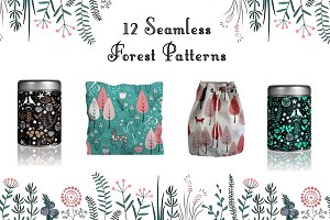 Forest Bundle. 12 Seamless Patterns