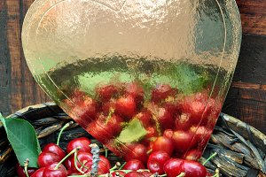 Golden heart and fresh red cherries