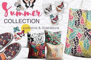 Summer patterns- butterflies, leaves