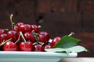Fresh and bright cherries