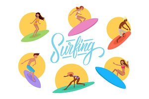 Set of cute surfers.