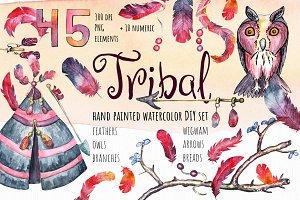 Watercolor Tribal set