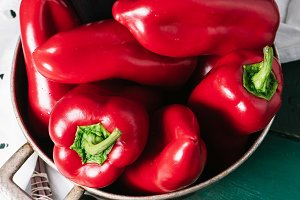 Sweet pepper in a round metal bowl