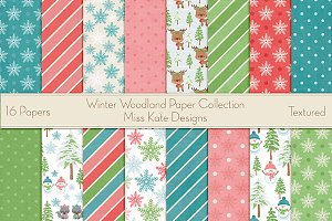 Winter Wood Digital Paper Collection