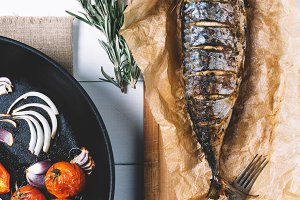 Baked fish with roasted vegetables
