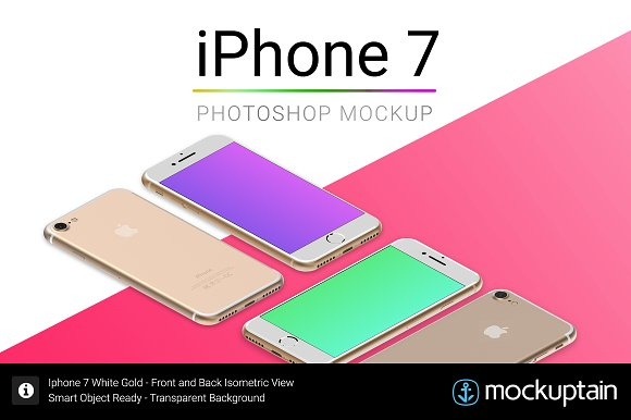 Download Iphone 7 Mockup White Gold Isometric