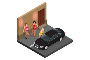 Prostitute in short skirt talking to a client sitting in a car and prostitutes waiting for client on the street. Isometric vector illustration