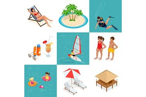 Summer set travel elements of sandy beach. Flat vector isometric illustration.