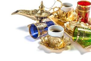 Golden coffee cups Arabic lantern