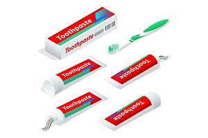 Isometric paste or gel dentifrice used with a toothbrush as an accessory to clean and maintain the aesthetics and health of teeth. Vector illustration