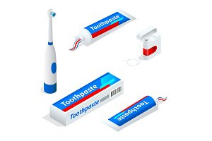 Isometric set of toothpaste Toothbrush, dental floss. Paste or gel dentifrice used with a toothbrush as an accessory to clean and maintain the aesthetics and health of teeth
